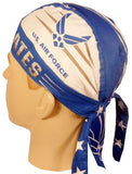 US Air Force Doo Rag with a SWEATBAND Blue Bandana Head Wrap Motorcycle Bikers Hat