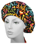 SCRUB BOUFFANT Cap I LOVE CATS Medical Hat for Long Hair MADE IN THE USA