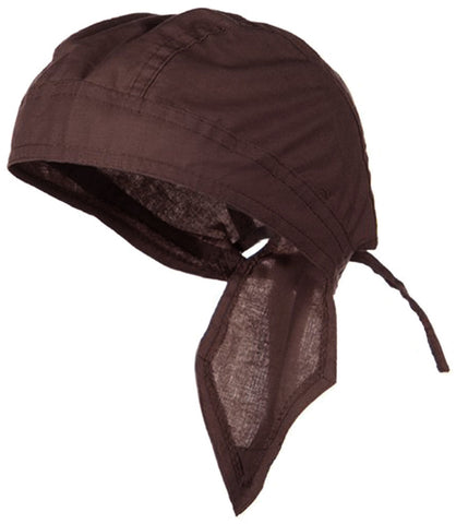 Brown Solid Doo Rag Dark Chocolate Headwrap Durag Skull Cap Cotton Sporty Motorcycle Hat
