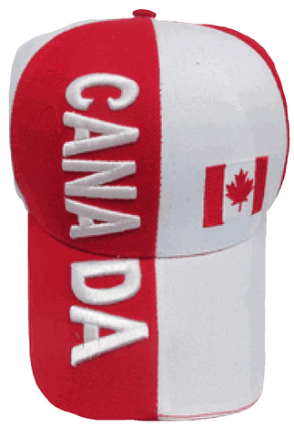 Canada Baseball Cap Canadian Ball Hat Red and White with Maple Leaf Embroidered Adjustable
