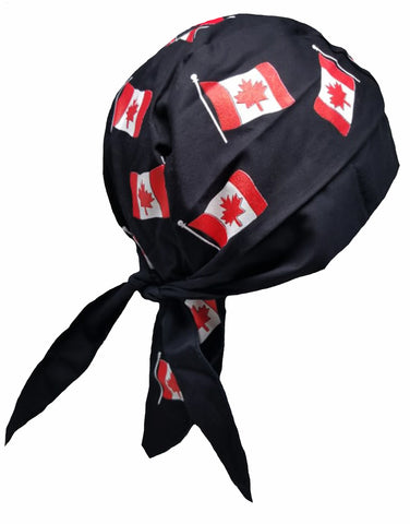 Canada Doo Rag Skull Cap Canadian Flag Motorcycle Bikers Hat Red and White Maple Leaf w/ Sweatband