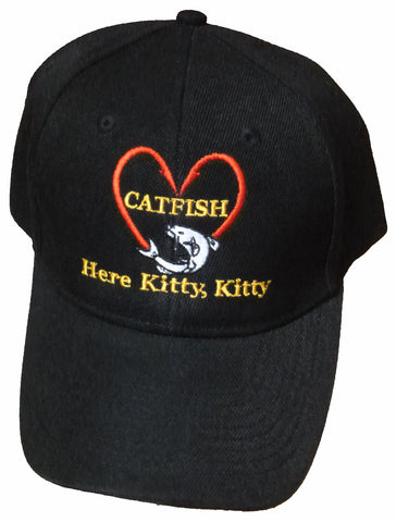 Catfishing Baseball Cap I Love Catfish Here Kitty Kitty Black Hat Hooks in Shape of Heart