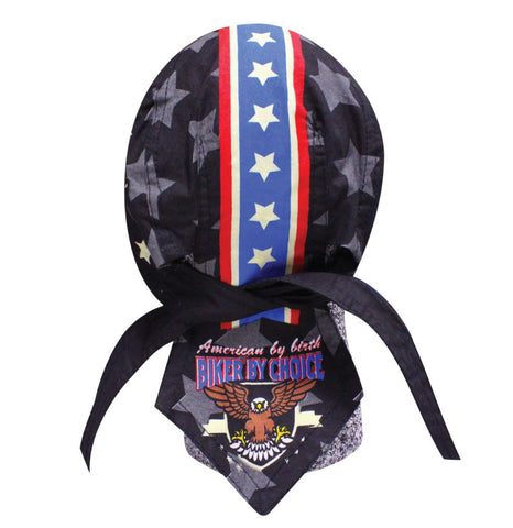 American By Birth Biker by Choice Skull Cap Evel Robbie Knievel Tribute Doo Rag with Stars Red White and Blue