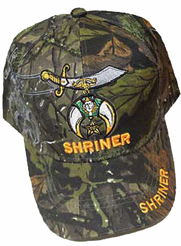 Shriner Hat Camouflage Baseball Cap with Logo Associated with Freemasons Shriners Prince Hall Masons Lodge Camo Headwear
