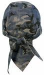 Blue Camouflage Doo Rag | MADE IN AMERICA | Camo Bandana | Motorcycle Head Wrap | Cotton with Sweatband