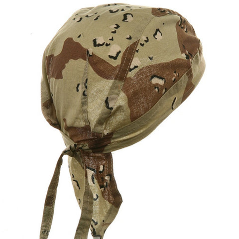 Camouflage Desert Head Wrap Doo Rag Camo Durag Skull Cap Cotton Sporty Motorcycle Hat