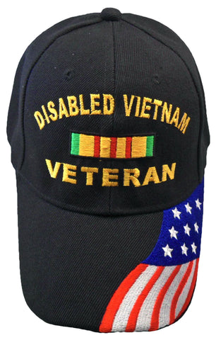 Disabled Vietnam Veteran Baseball Cap Black Military Hat with American Flag