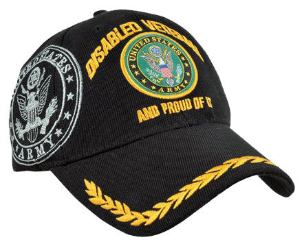 7e24297a109 U.S. Army Hat Black Logo Disabled Veteran Baseball Cap with Wreath Military  Headwear
