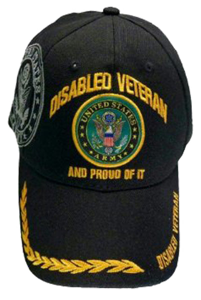 U S Army Hat Black Logo Disabled Veteran Baseball Cap