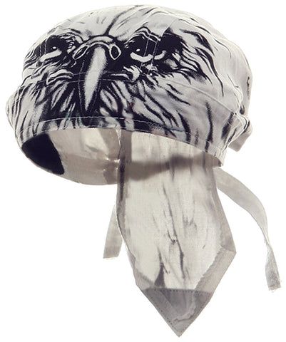 EAGLE Doo Rag Patriotic Bandana Cotton White and Black Head Wrap Motorcycle Bikers Hat