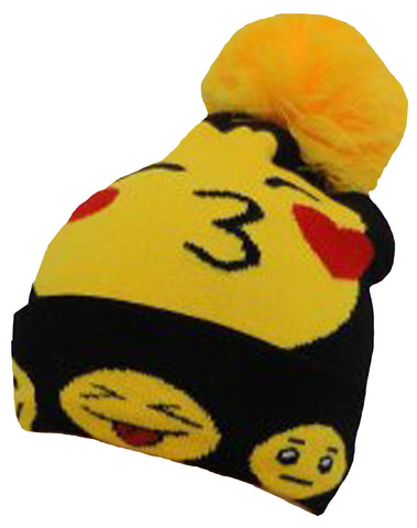 CLEARANCE Emoji Winter Beanie aka Skull Cap, Ski Hat, Smiley Face with Hearts