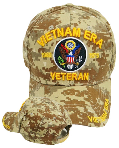 VIETNAM ERA VETERAN CAMOUFLAGE BASEBALL CAP EMBROIDERED BROWN DIGITAL CAMO HAT