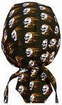 Flaming Skulls Doo Rag Black Head Wrap Durag Skull Cap Cotton Sporty Motorcycle Hat