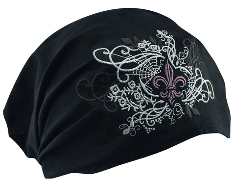 CLEARANCE Fleur De Lis and Black Headwrap Cotton Helmet Liner Motorcycle Bikers, Cyclists, Chemo Bald Head Cover