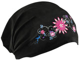 CLEARANCE Pretty Flowers and Black Headwrap Cotton Helmet Liner Motorcycle Bikers, Cyclists, Chemo Bald Head Cover