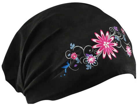 Pretty Flowers and Black Headwrap Cotton Helmet Liner Motorcycle Bikers, Cyclists, Chemo Bald Head Cover