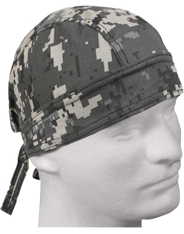 Camouflage Subdued Urban Gray Digital Head Wrap Doo Rag Camo Durag Skull Cap Cotton Sporty Motorcycle Hat