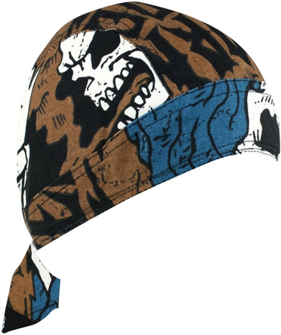CLEARANCE Grim Reaper Skeleton Head Doo Rag Hat Bandana Head Wrap Black, and Brown for Men or Women