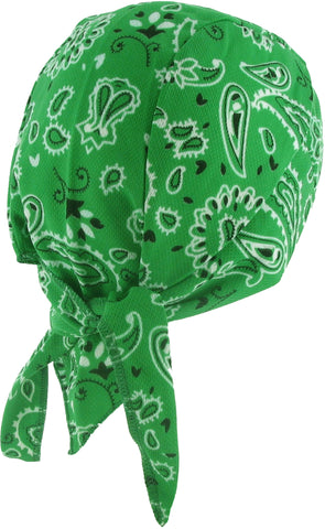 Green Paisley Headwrap Doo Rag with SWEAT BAND Durag Skull Cap Spandex Sporty Motorcycle Hat