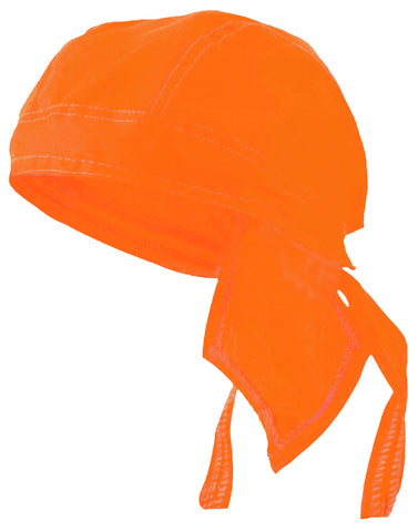 SAFETY ORANGE Doo-Rag Hi-Vis Skull Cap Solid Du-Bandana Motorcycle Helmet Liner Chemo Head-Scarf