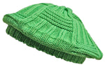 CLEARANCE Green Beret Slouchy Crochet Winter Knit Hat Bright Lime Hi-Vis