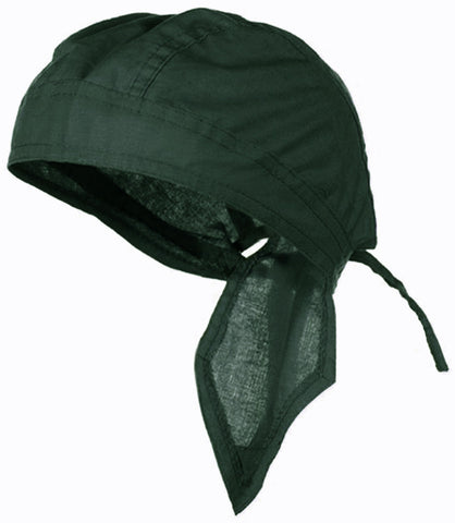 Hunter Green Solid Doo Rag Headwrap Durag Verde Skull Cap Cotton Sporty Motorcycle Hat