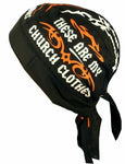 Christian Skull Cap Black and White Doo-Rag with SWEATBAND Du-Bandana for Christians