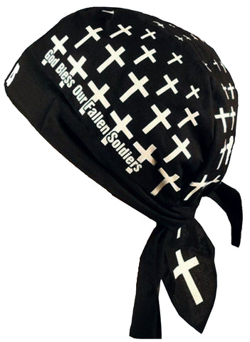 God bless Fallen Soldiers Skull Cap Black Doo-Rag with SWEATBAND Military Du-Bandana