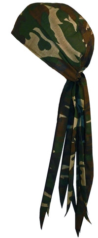 Camouflage Hunting Doo Rag ROVER Durag with Long Tails and SWEATBAND MADE IN THE USA