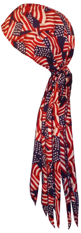 American Flag Doo Rag MADE IN AMERICA Patriotic Bandana Head Wrap MADE IN THE USA