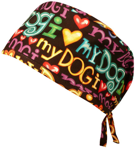 Surgical Scrub Cap I Love My Dog with SWEATBAND MADE IN THE USA Doctors Surgeon Hat
