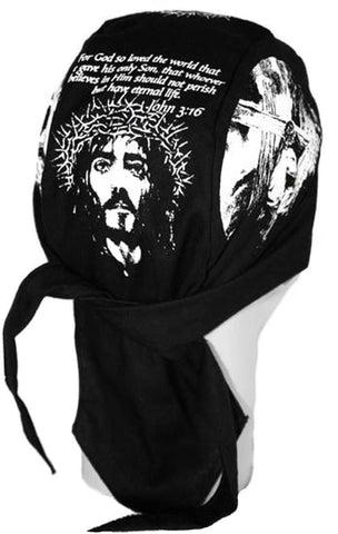 Christian Skull Cap Black JOHN 3:16 Doo-Rag with SWEATBAND Du-Bandana for Christians