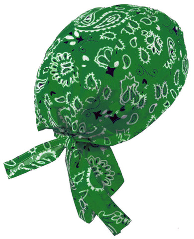 Green Paisley Headwrap Doo Rag Durag Skull Cap Cotton Sporty Motorcycle Hat