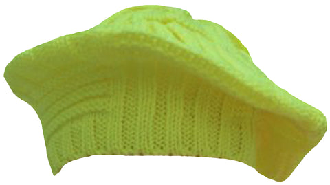 CLEARANCE Yellow Beret Slouchy Crochet Winter Hat Bright Hi-Vis
