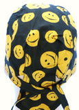 Smiley Face Yellow and Black Happy Headwrap Doo Rag Durag Skull Cap Cotton Sporty Motorcycle Hat