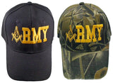 U.S. ARMY Camouflage Masonic Baseball Cap Camo Mason Logo Hat for Freemasons Shriners Prince Hall Masons Headwear