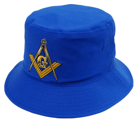 Mason Bucket Hat Blue with Masonic Logo Freemasons Shriners Prince Hall Mason Lodge Headwear