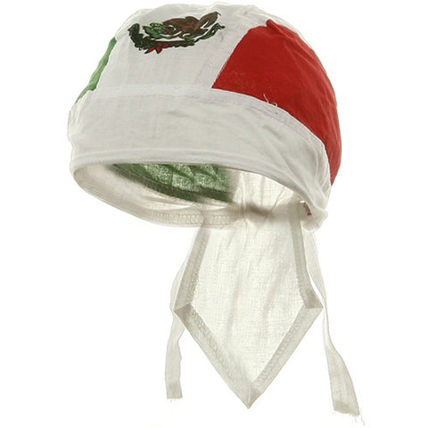 Mexican Flag Doo Rag Mexico Green White and Red Motorcycle Durag Skull Cap Cotton