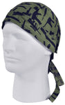Camouflage Rifles and Pistols Doo Rag Olive Drab OD Green and Black Head Wrap Camo Durag Skull Cap Cotton Sporty Motorcycle Hat