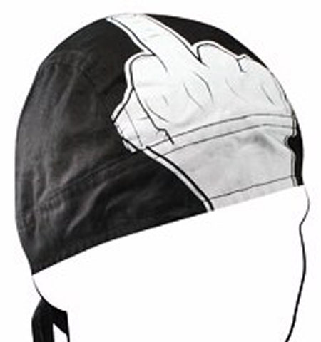Middle Finger Doo Rag FU Funny Headwrap Durag Skull Cap Cotton Motorcycle Hat