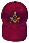 Mason Hat Maroon Baseball Cap with Masonic Logo Freemasons Shriners Prince Hall Lodge Headwear