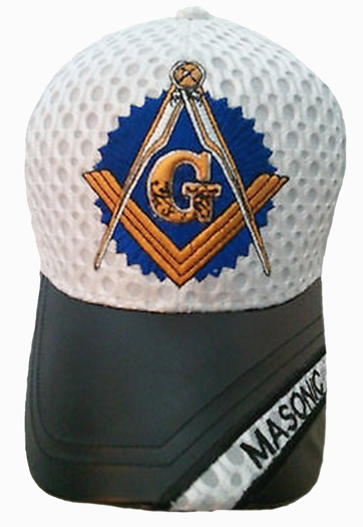 11352c320ad White and Black Mason Baseball Cap Leather Masonic Emblem Hat for Free –  Buy Caps and Hats