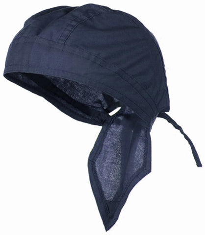 Navy Blue Solid Doo Rag Headwrap Durag Skull Cap Cotton Sporty Motorcycle Hat