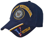 US Navy Veteran Hat Blue Military Baseball Cap with Logo Emblem