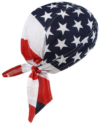 American Flag Patriotic Headwrap Doo Rag Durag Skull Cap Cotton Sporty Motorcycle Hat