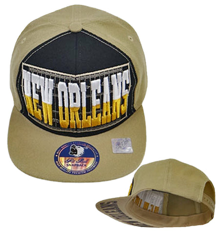 New Orleans Saints Snapback Khaki and Black Hat Baseball Cap NFL Football Team