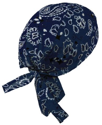 Navy Blue Bandana Head Wrap | Paisley Doo Rag with White and Black Western | Motorcycle Skull Cap