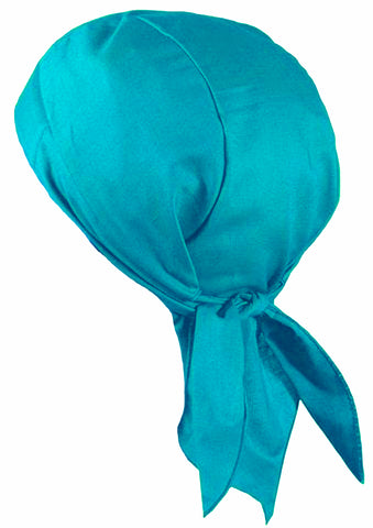 Ocean Beach Blue Doo Rag Skull Cap with SWEATBAND, Motorcycle Bandana Head Wrap Dorag MADE IN AMERICA