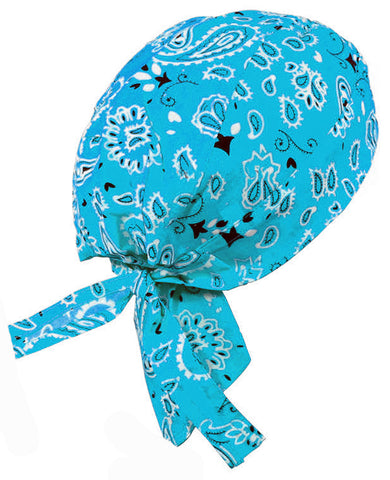 Bright Blue Headwrap Doo Rag Durag Skull Cap Cotton Chemo Hat