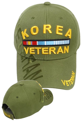 KOREA VETERAN OD GREEN BASEBALL CAP EMBROIDERED HAT ADJUSTABLE STRAP